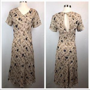 Chelsea & Violet Creamy Tan Silk Floral Dress S